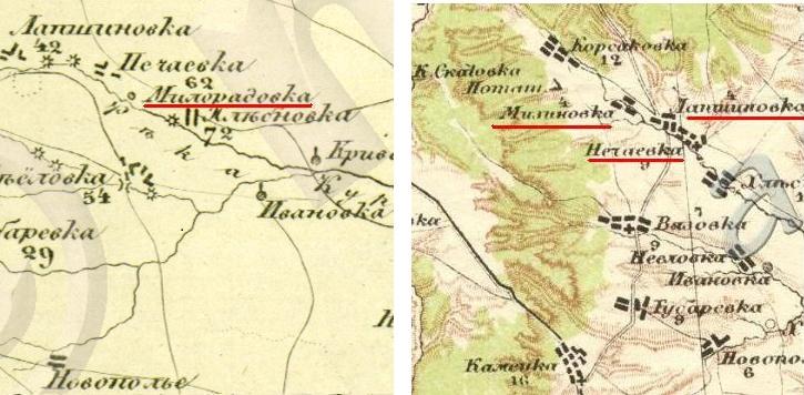 Милорадовка на карте Шуберта