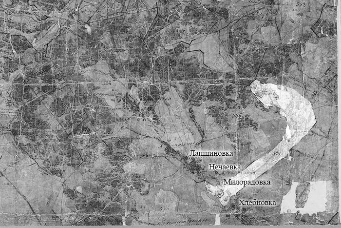 Милорадовка на плане Генерального межевания