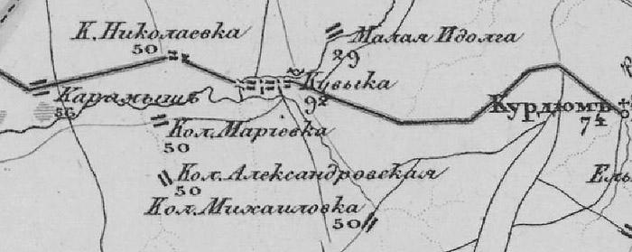 Константиновка на карте Шуберта