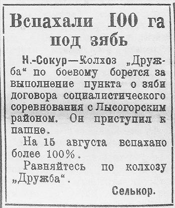 Новый Сокур статья в газете