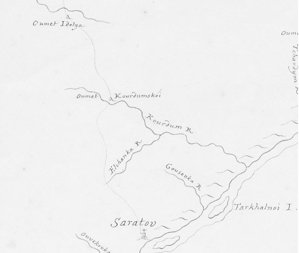 Курдюм на карте 1729 года